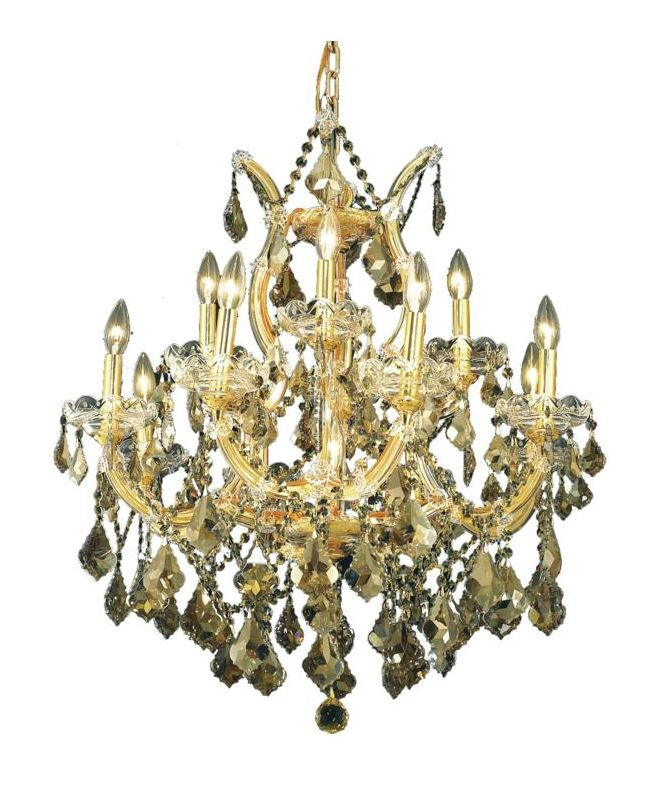 Elegant Lighting 2800D27G-GT Maria Theresa 13-Light Two-Tier Crystal