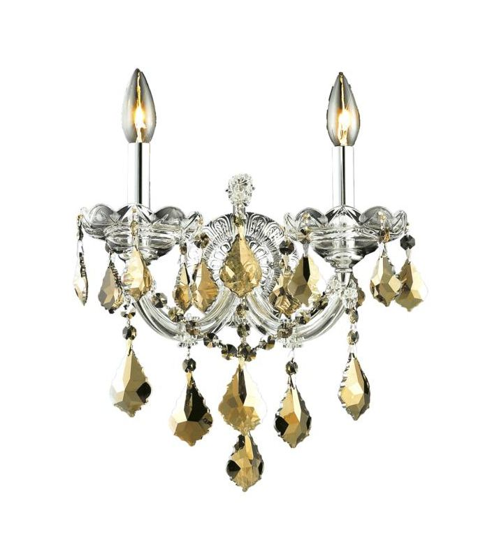 Elegant Lighting 2800W2C-GT Maria Theresa 2-Light Crystal Wall Sconce