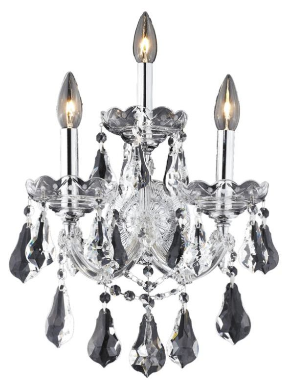Elegant Lighting 2801W3C Maria Theresa 3-Light Crystal Wall Sconce