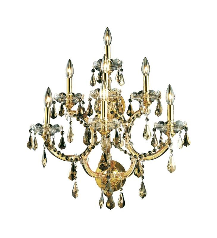Elegant Lighting 2801W7G-GT Maria Theresa 7-Light Crystal Wall Sconce