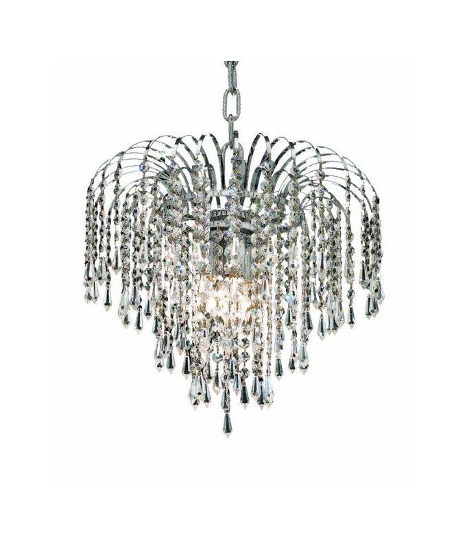 Elegant Lighting 6801D14C Falls 3-Light Single Tier Crystal