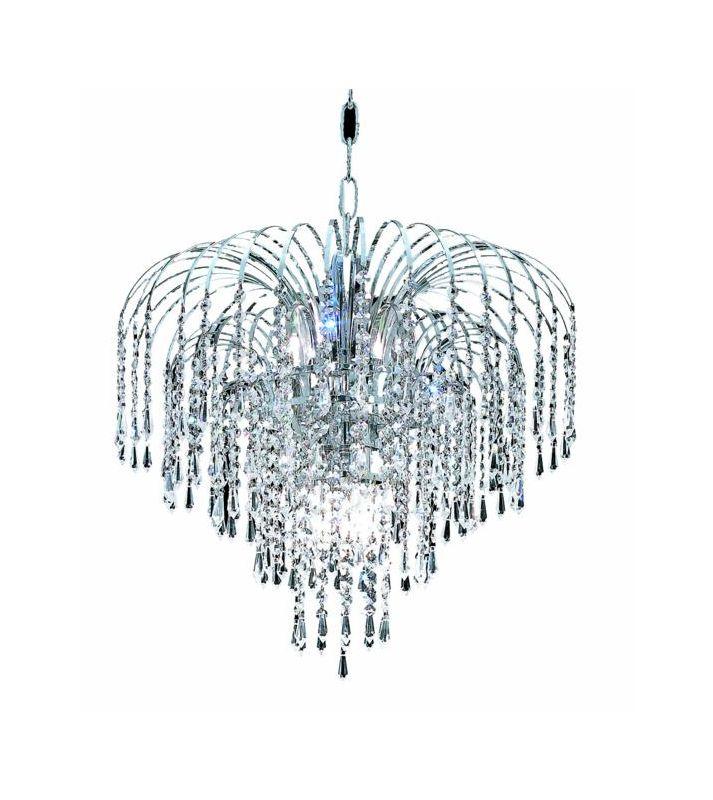 Elegant Lighting 6801D19C Falls 6-Light Single Tier Crystal