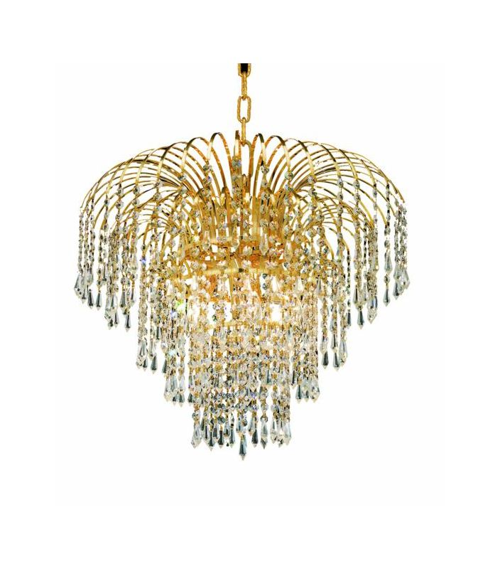 Elegant Lighting 6801D21G Falls 6-Light Single Tier Crystal