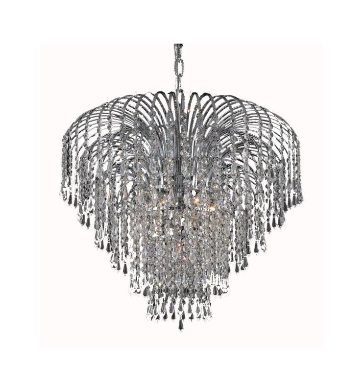 Elegant Lighting 6801D25C Falls 6-Light Single Tier Crystal