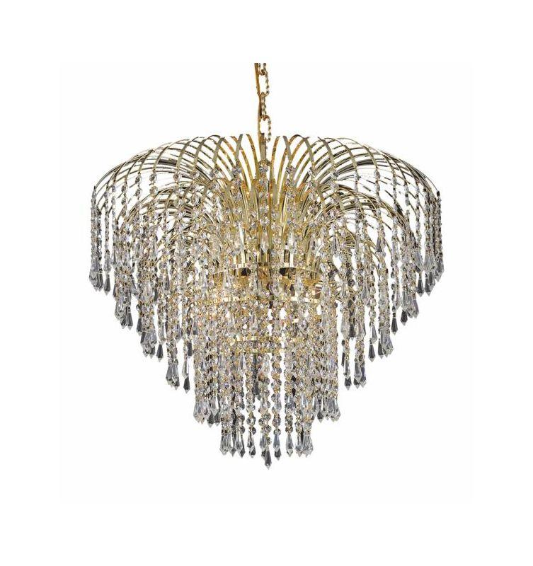 Elegant Lighting 6801D25G Falls 6-Light Single Tier Crystal
