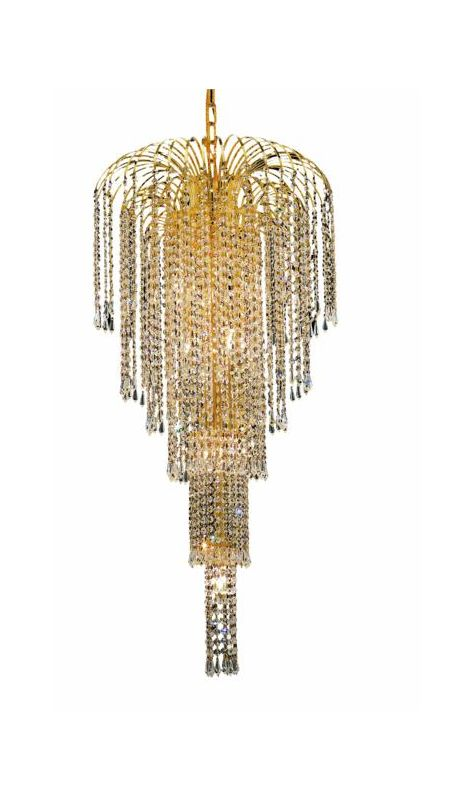 Elegant Lighting 6801G19G Falls 9-Light Five-Tier Crystal Chandelier