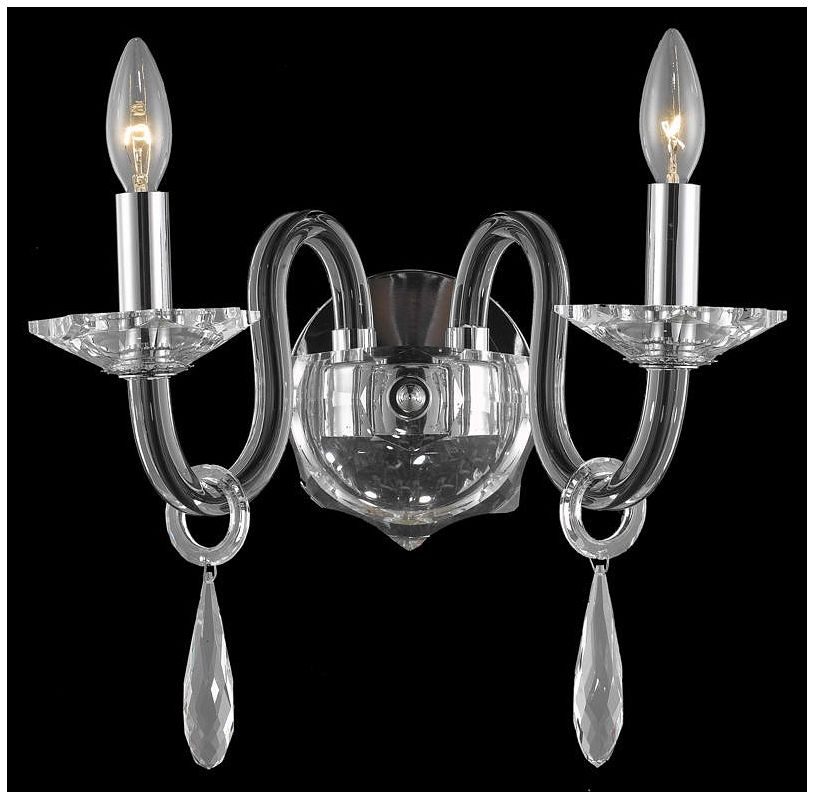 Elegant Lighting 6902W10B Avalon 2-Light Crystal Wall Sconce Finished