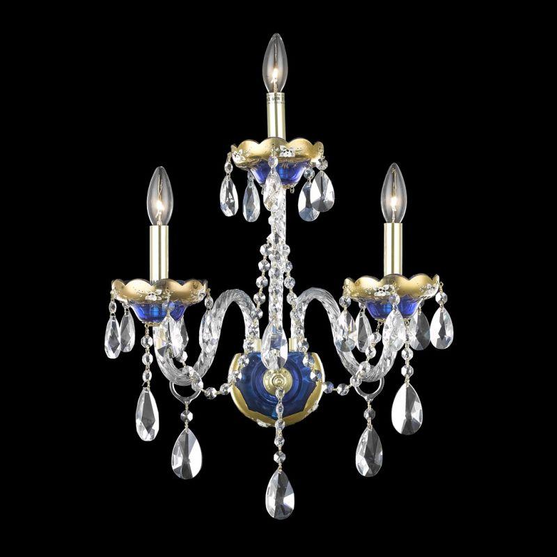Elegant Lighting 7810W3BE Alexandria 3-Light Crystal Wall Sconce