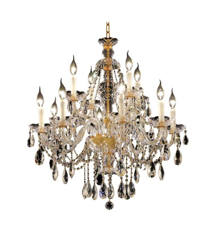 Elegant Lighting 7829D28G Alexandria 12-Light 2 Tier Crystal