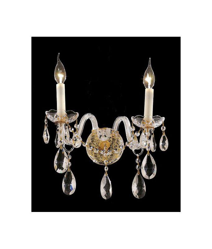 Elegant Lighting 7829W2G Alexandria 2-Light Crystal Wall Sconce