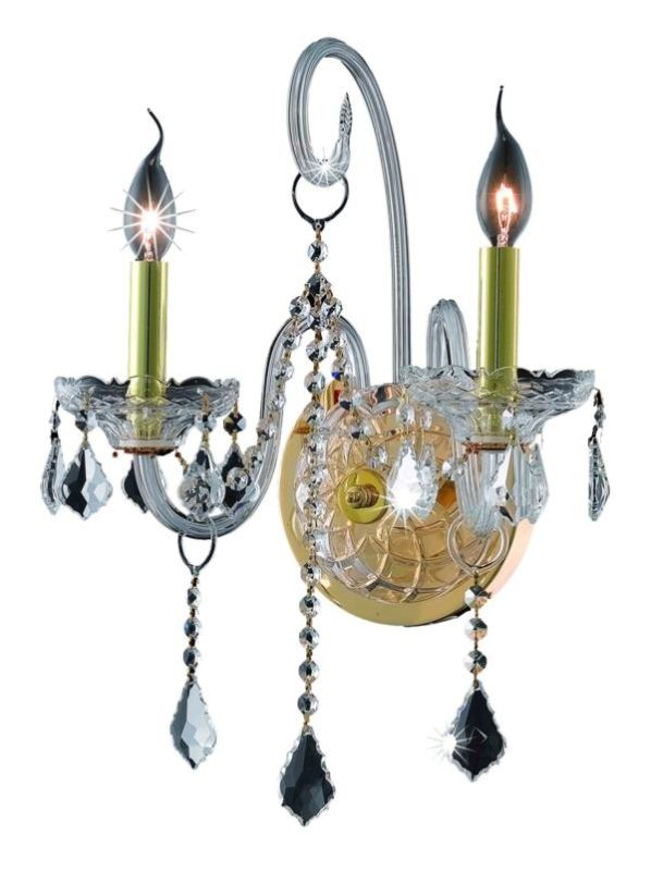 Elegant Lighting 7852W2G Verona 2-Light Crystal Wall Sconce Finished