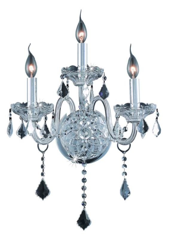 Elegant Lighting 7853W3C Verona 3-Light Crystal Wall Sconce Finished