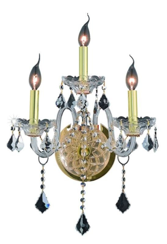 Elegant Lighting 7853W3G Verona 3-Light Crystal Wall Sconce Finished