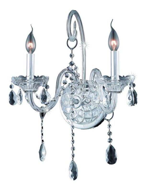 Elegant Lighting 7952W2C Verona 2-Light Crystal Wall Sconce Finished