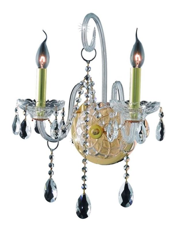 Elegant Lighting 7952W2G Verona 2-Light Crystal Wall Sconce Finished