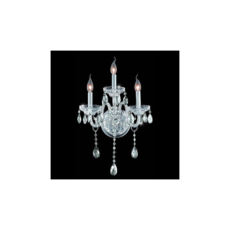 Elegant Lighting 7953W3C Verona 3-Light Crystal Wall Sconce Finished
