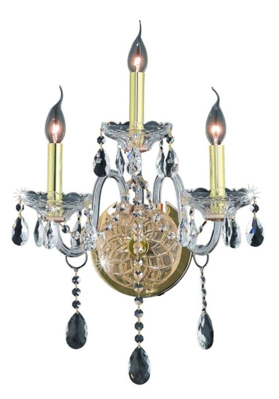 Elegant Lighting 7953W3G Verona 3-Light Crystal Wall Sconce Finished