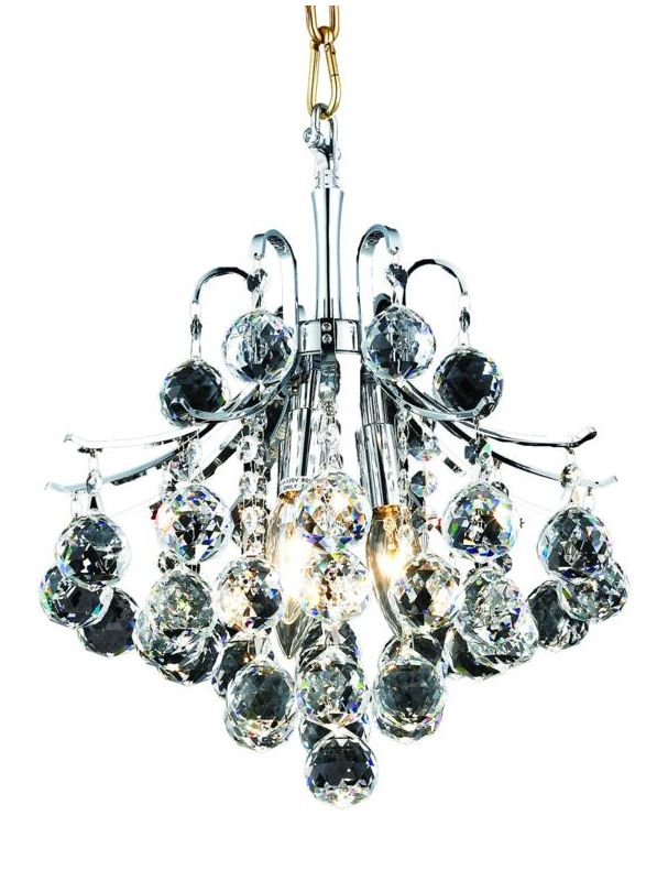 Elegant Lighting 8000D12C Toureg 3-Light Crystal Pendant Finished in