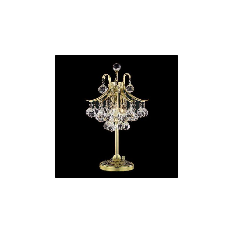 Elegant Lighting 8000TL13G Toureg 3-Light Crystal Table Lamp Finished