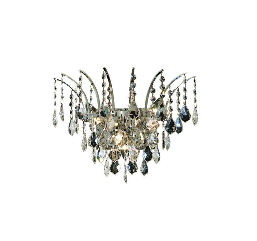 Elegant Lighting 8033W16C Victoria 3-Light Crystal Wall Sconce