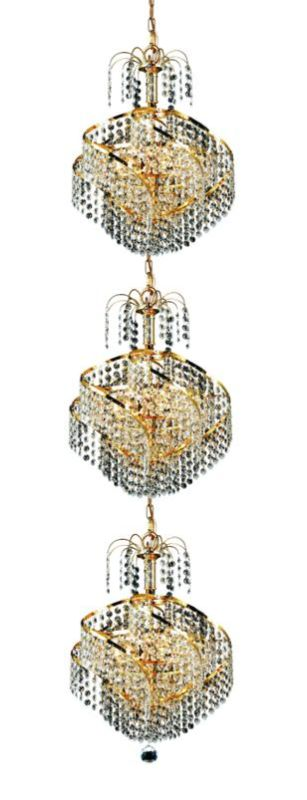 Elegant Lighting 8052G14G Spiral 9-Light Three-Tier Crystal