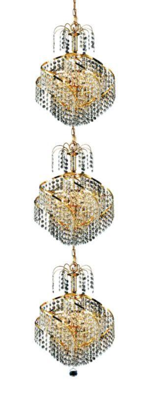 Elegant Lighting 8052G14G Spiral 9-Light Three-Tier Crystal