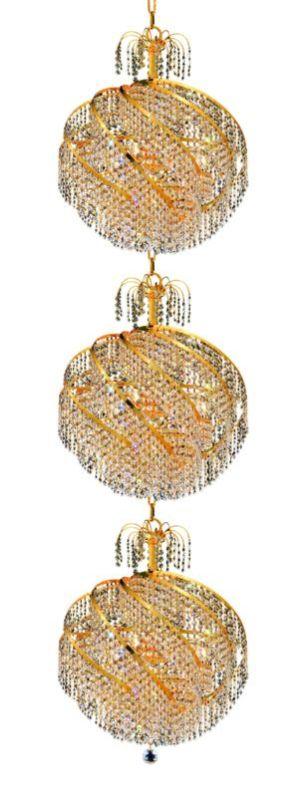 Elegant Lighting 8052G22G Spiral 30-Light Three-Tier Crystal