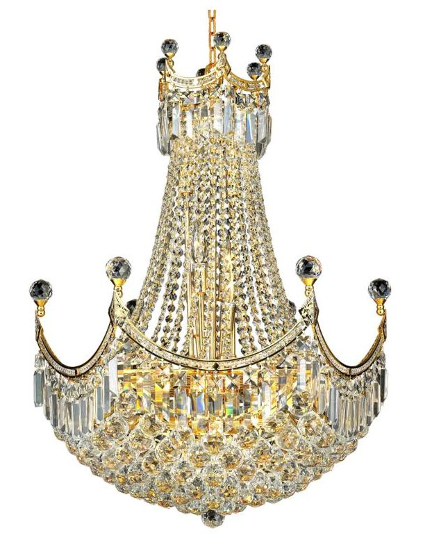 Elegant Lighting 8949D24G Corona 18-Light Two-Tier Crystal