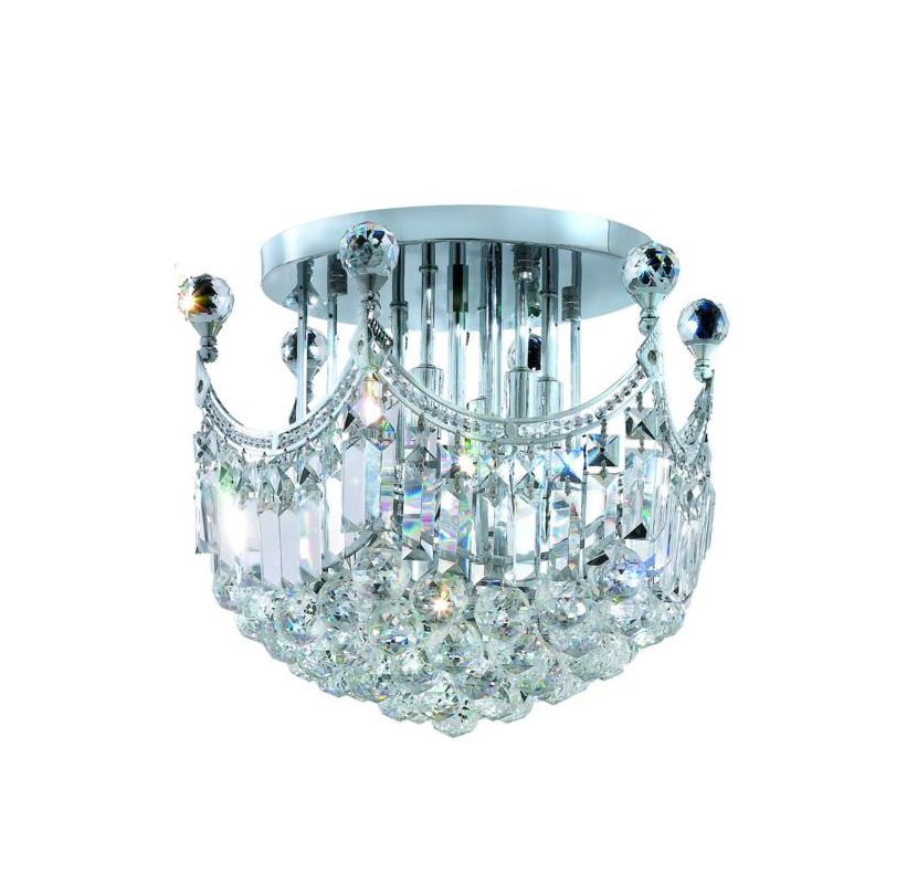 Elegant Lighting 8949F16C Corona 6-Light -Tier Semi-Flush Crystal