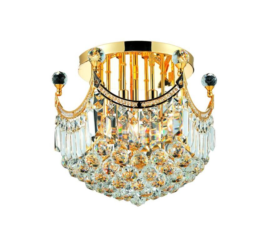Elegant Lighting 8949F16G Corona 6-Light -Tier Semi-Flush Crystal