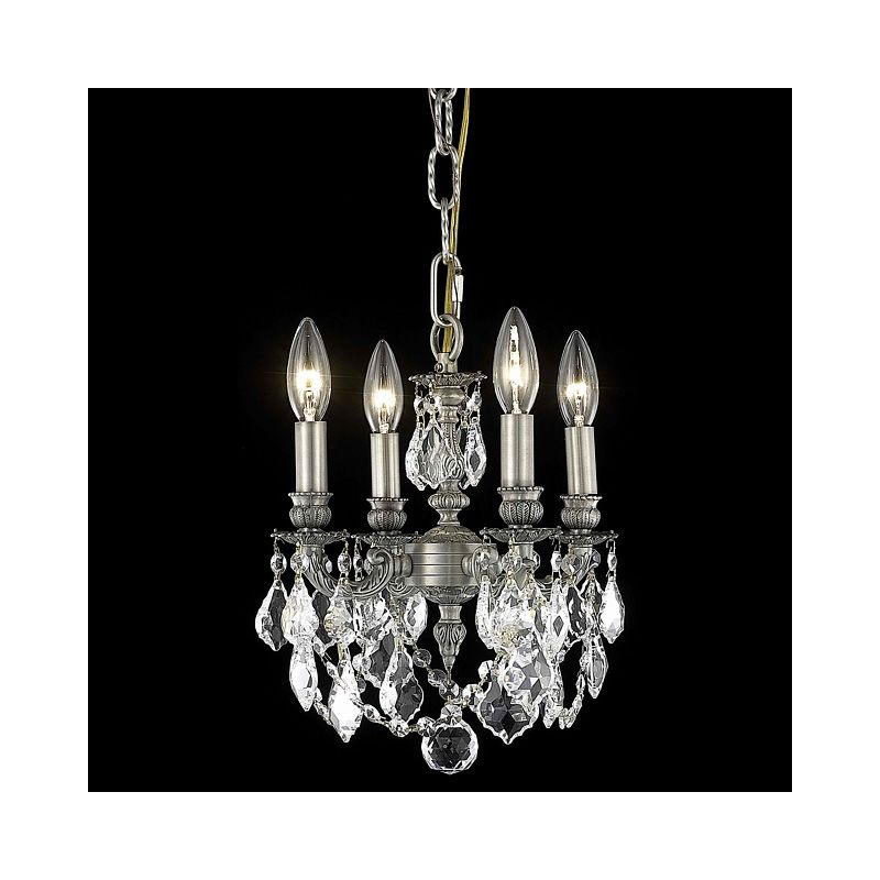 Elegant Lighting 9104D10PW Lillie 4-Light Single-Tier Crystal