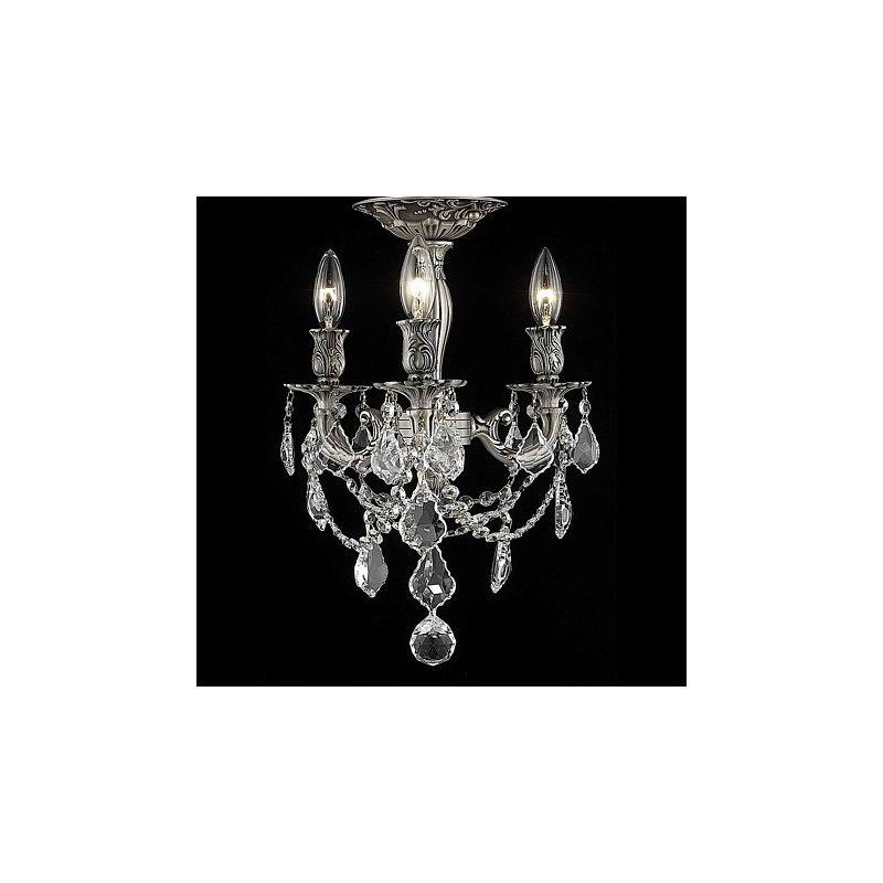 Elegant Lighting 9203F13PW Rosalia 3-Light -Tier Semi-Flush Crystal