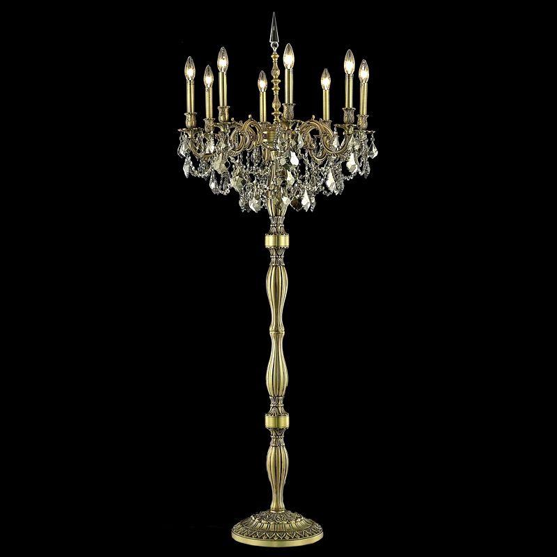 Elegant Lighting 9208FL24FG-GT Rosalia 8-Light Crystal Floor Lamp