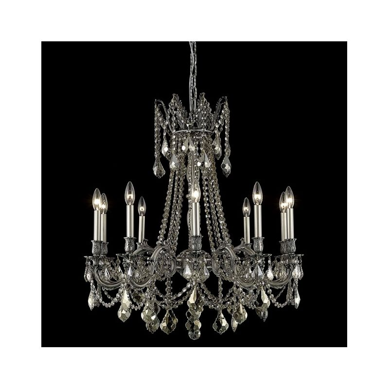 Elegant Lighting 9210D28PW-GT Rosalia 10-Light Single-Tier Crystal