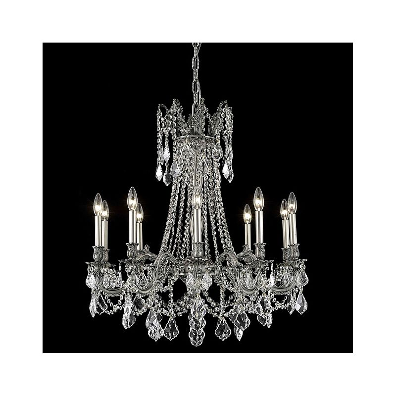 Elegant Lighting 9210D28PW Rosalia 10-Light Single-Tier Crystal