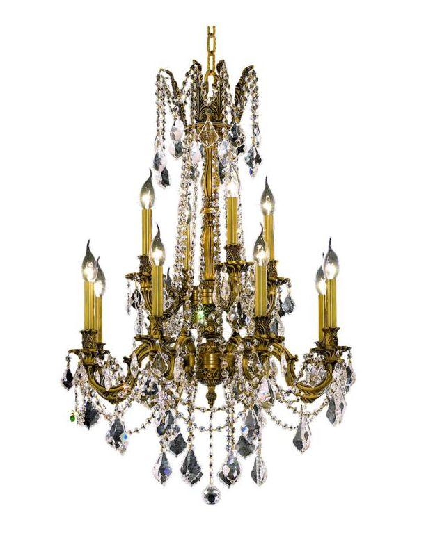 Elegant Lighting 9212D24FG Rosalia 12-Light Two-Tier Crystal
