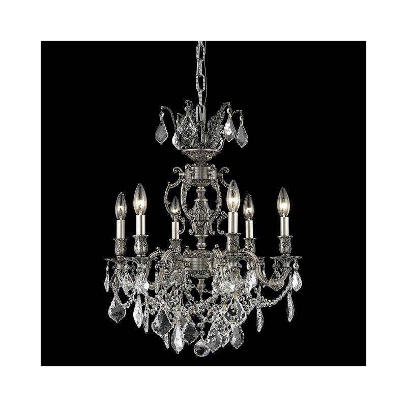 Elegant Lighting 9506D20PW Marseille 6-Light Single-Tier Crystal