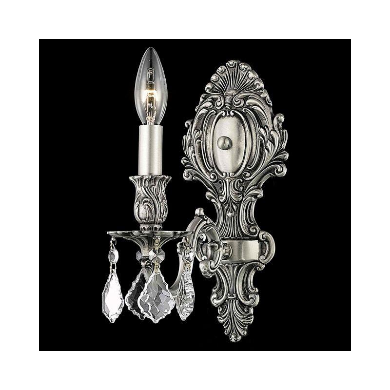 Elegant Lighting 9601W5PW Monarch 1-Light Crystal Wall Sconce