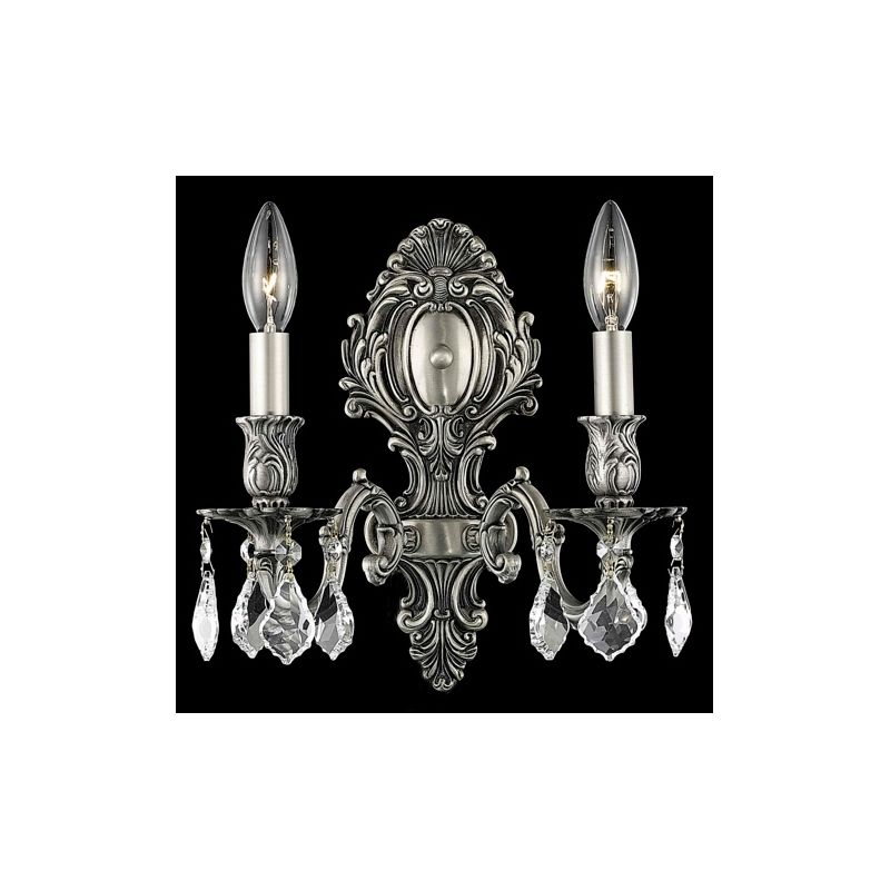 Elegant Lighting 9602W10PW Monarch 2-Light Crystal Wall Sconce