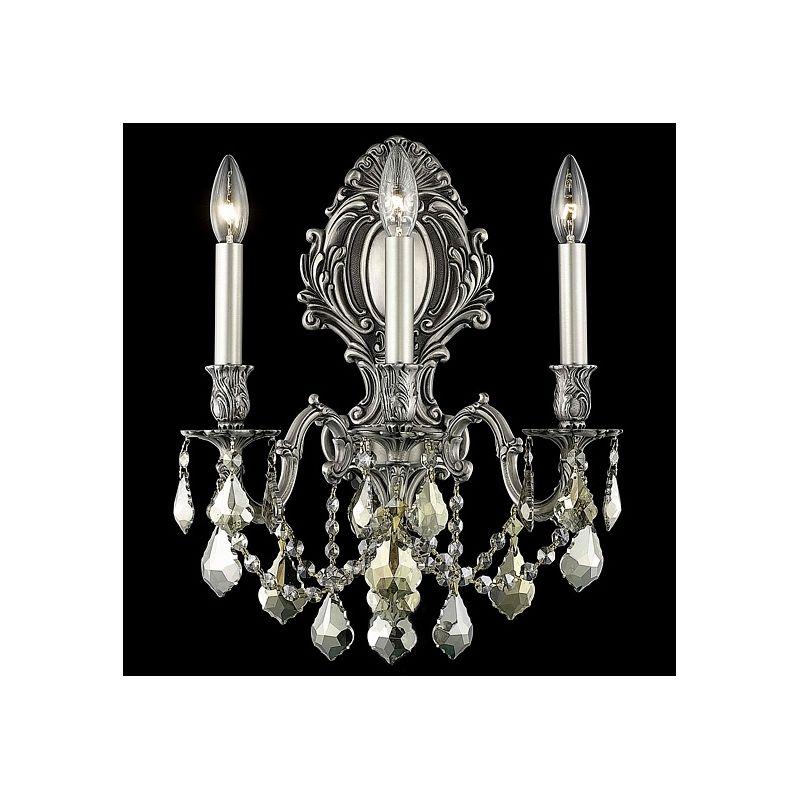 Elegant Lighting 9603W14PW-GT Monarch 3-Light Crystal Wall Sconce