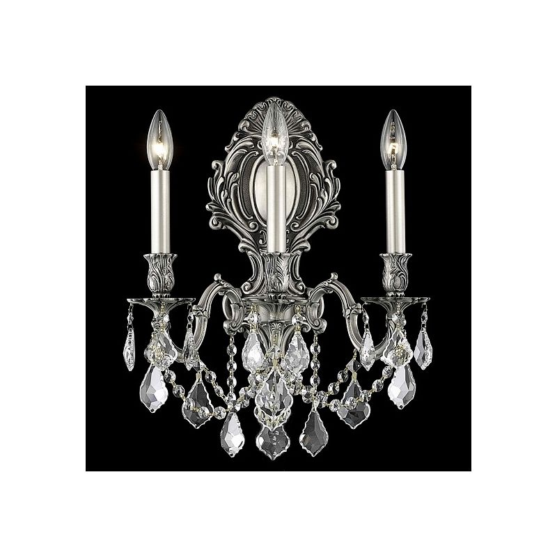 Elegant Lighting 9603W14PW Monarch 3-Light Crystal Wall Sconce
