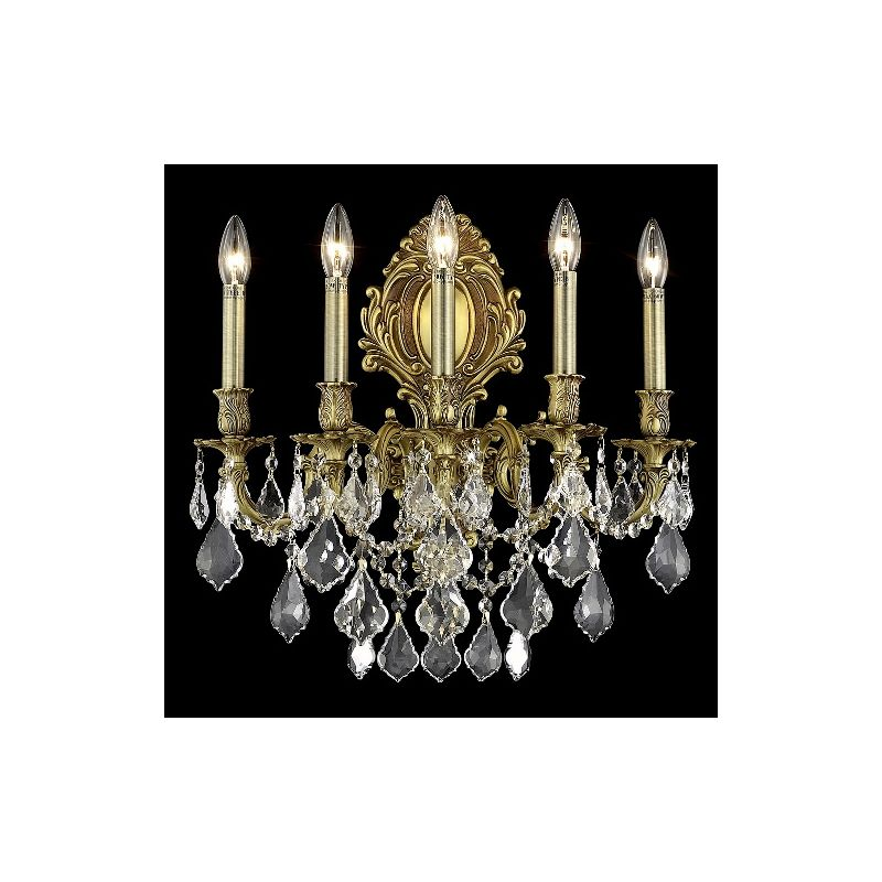 Elegant Lighting 9605W21FG Monarch 5-Light Crystal Wall Sconce