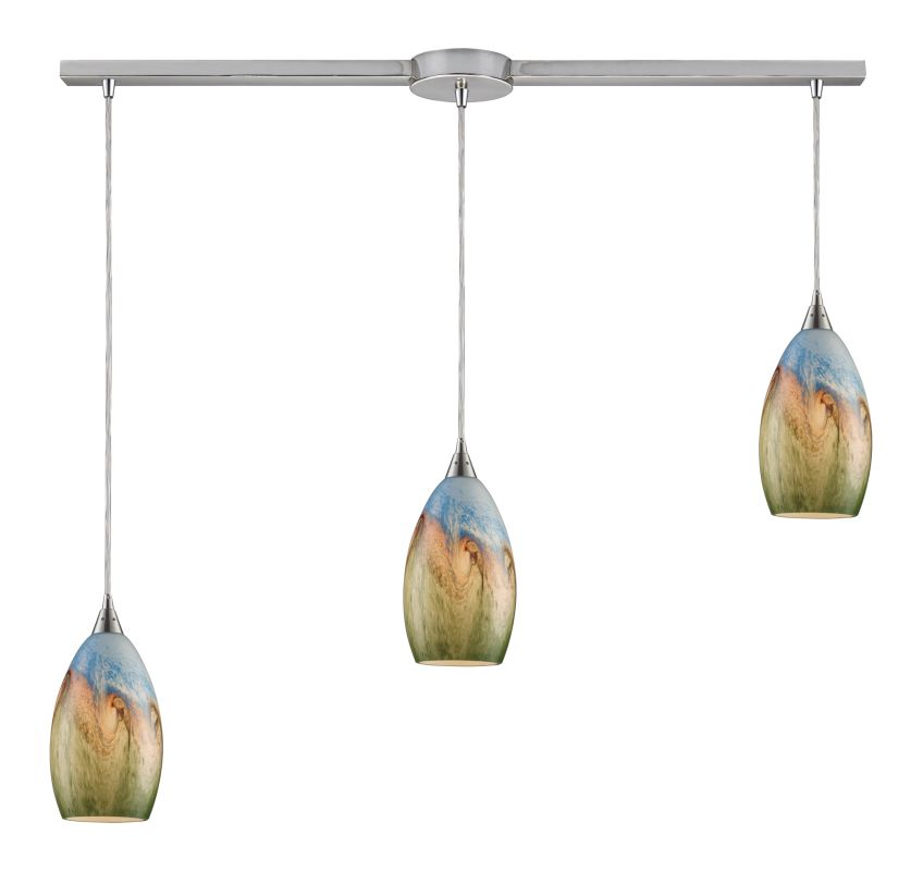 "Elk Lighting 10077/3L Geologic 3 Light 36"" Wide Linear Pendant with"