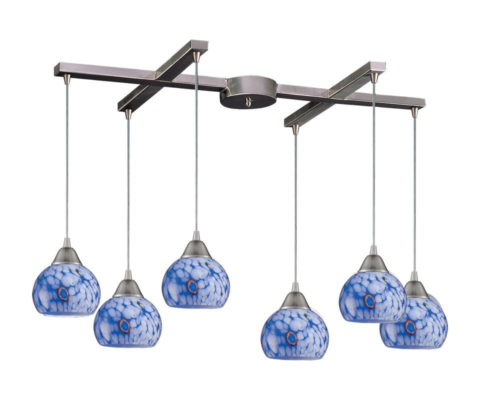 "Elk Lighting 101-6 Mela 6 Light 17"" Wide Linear Pendant with H-Bar"