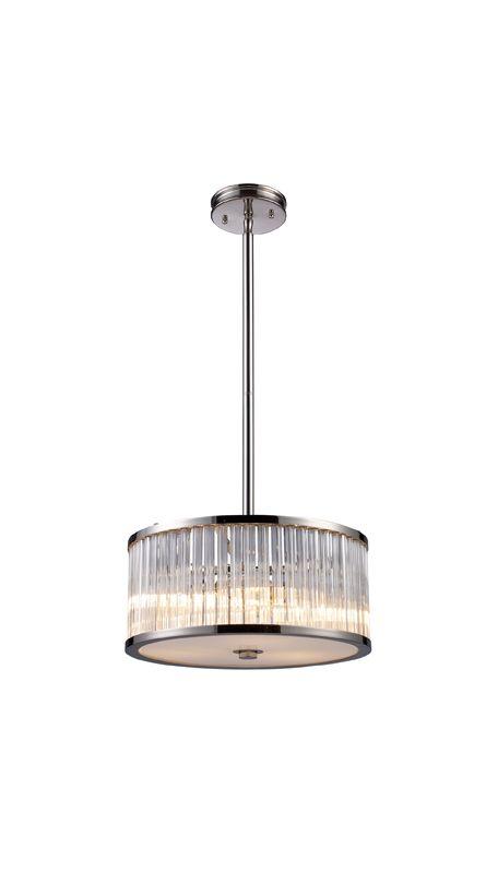 Elk Lighting 10128/3 Polished Nickel Contemporary Braxton Pendant