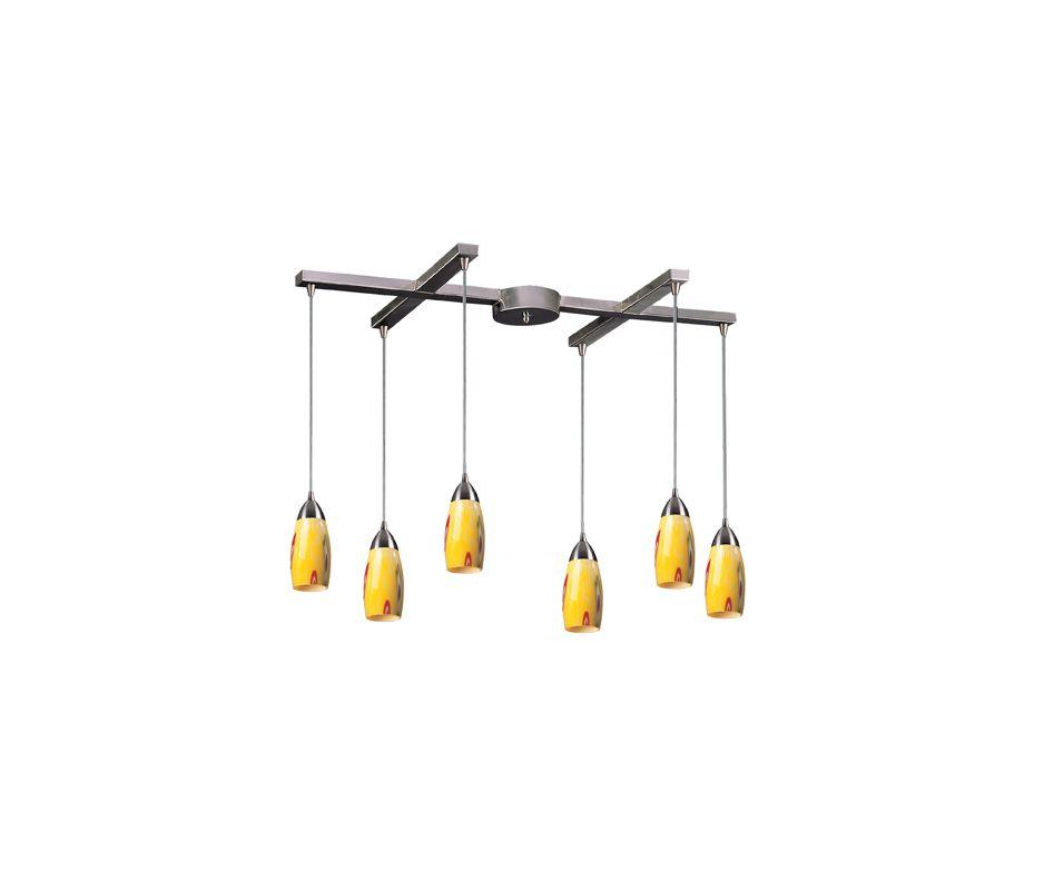 "Elk Lighting 110-6 Milan 6 Light 33"" Wide Linear Pendant with H-Bar"