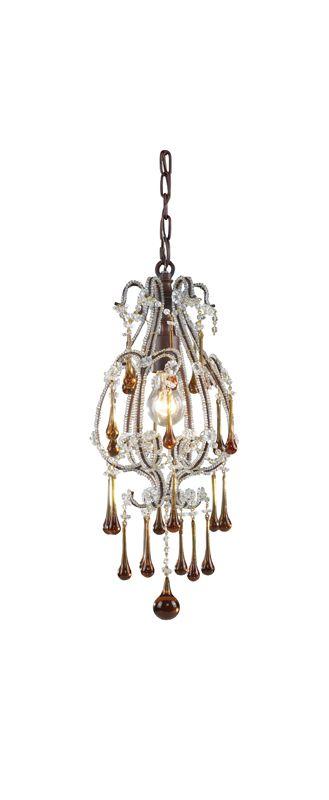 Elk Lighting 12013/1 Opulence 1 Light Mini Pendant Rust / Amber Indoor