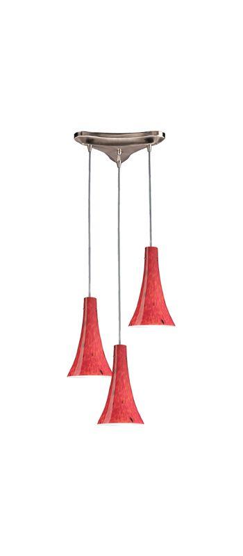 Elk Lighting 140-3 Tromba 3 Light Mini Pendant Fire Red Indoor