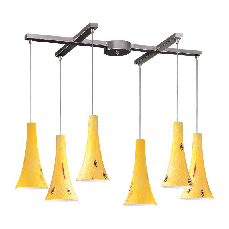 Elk Lighting 140-6 Tromba 6 Light Large Pendant Yellow Blaze Indoor