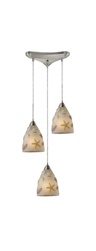 "Elk Lighting 20000/3 Seashore 3 Light 10"" Wide Multi Light Pendant"
